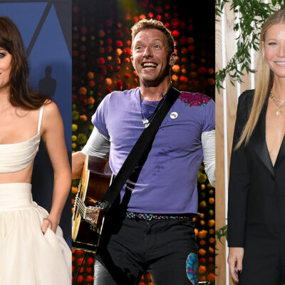 Triptych, Dakota Johnson on the left, Chris Martin in the middle, Gwyneth Paltrow on the right.