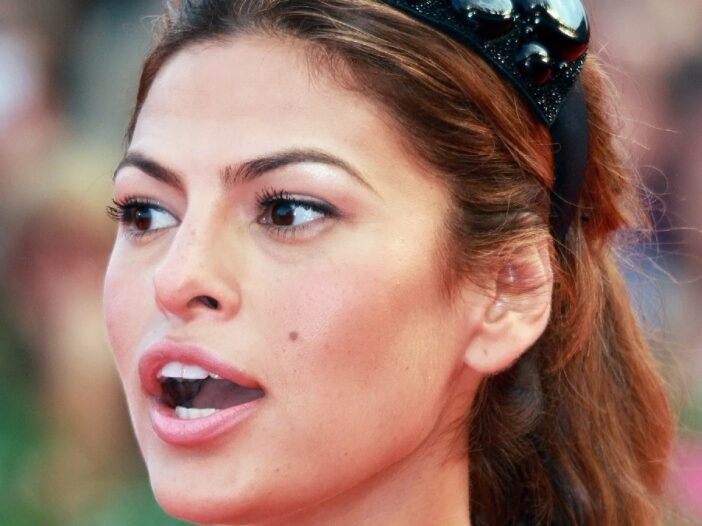 Eva Mendes looks off to the side while attending the Venice Film Festival