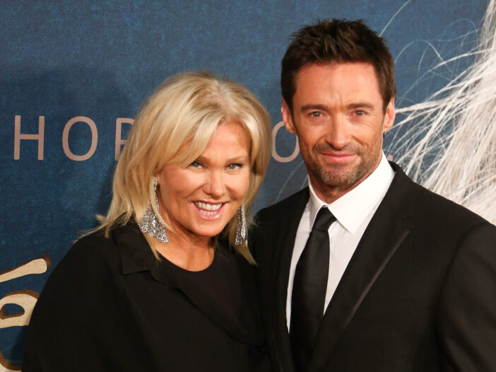 Hugh Jackmand on the right with this wife, Deborra-Lee Furness.