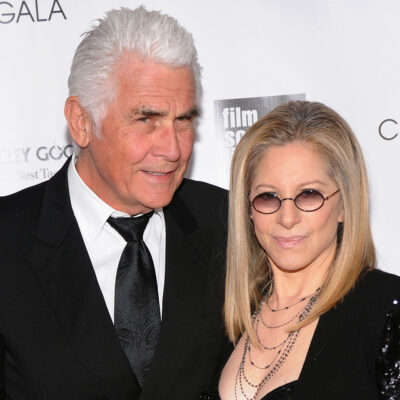 James Brolin and Barbra Streisand together at a red carpet event.