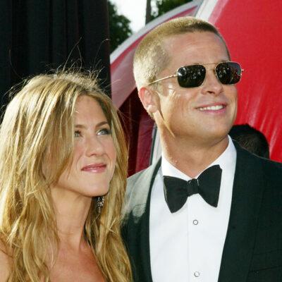 Jennifer Aniston on the left, Brad Pitt on the left, together in 2005.