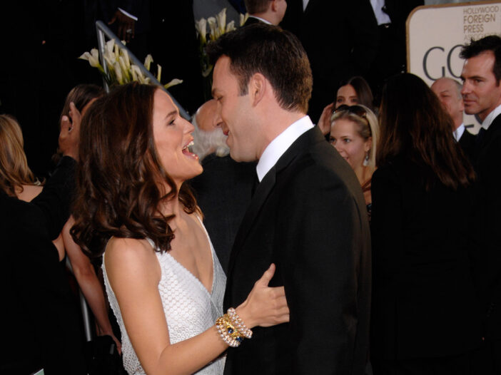 Jennifer Garner smiling and looking at Ben Affleck as they embrace