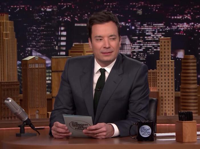 Screenshot of Jimmy Fallon at the Tonight Show desk, looking purplexed