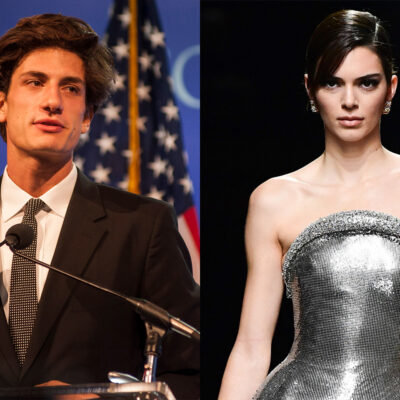 Side-by-side photos, Jack Schlossberg on the left, Kendall Jenner on the right.