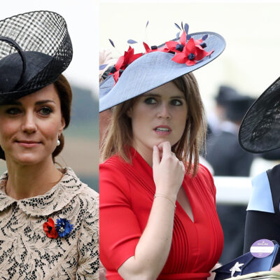Two side-by-side photos, Kate Middleton in a hat on the left, Princesses Beatrice and Eugenie in hats on the right
