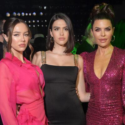From left to right, Delilah Hamlin, Amelia Hamlin and Lisa Rinna at a fashion show