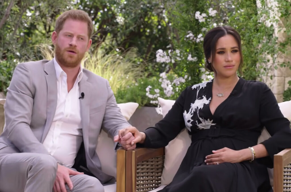 Screenshot of Prince Harry (left) and Meghan Markle (Right) during their interview with Oprah Winfrey (not pictured)