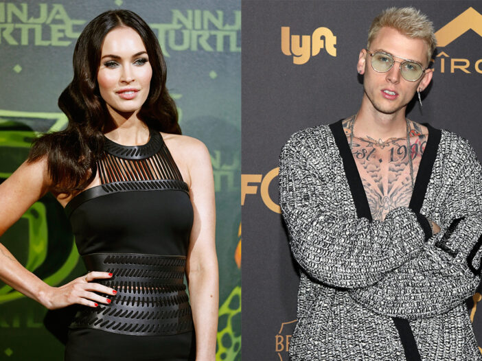 Side by side photos of Megan Fox on the left in a black leather dress and Machine Gun Kelly on the right with an open sweater, revealing his chest tattoos