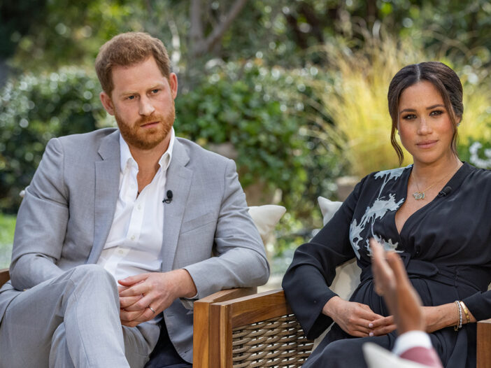 Meghan Markle (left) and Prince Harry (Right) in a still from the couple's interview with Oprah Winfrey