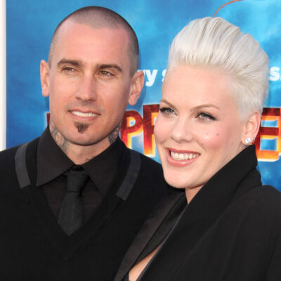 Close up of Pink on the right, standing with Carey Hart