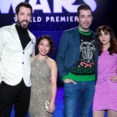From left to right: Drew Scott, Linda Phan, Jonathan Scott, Zooey Deschanel