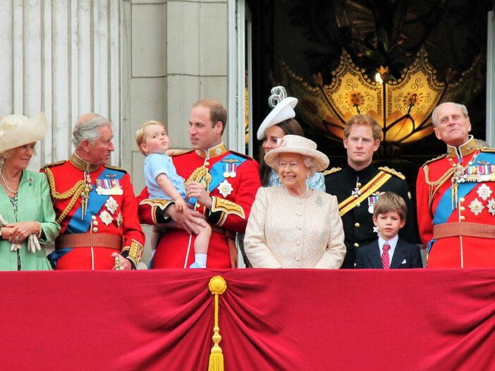 The Royal Family on a balcony at Buckingham Palace