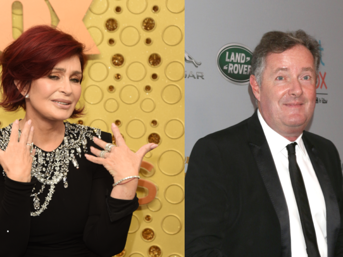 Two side by side photos of Sharon Osbourne, left, and Piers Morgan, right