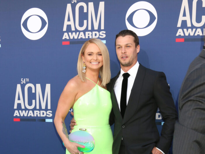 Miranda Lambert in a lime green dress and Brendan McLoughlin in a black suit at the Academy of Country Music Awards.