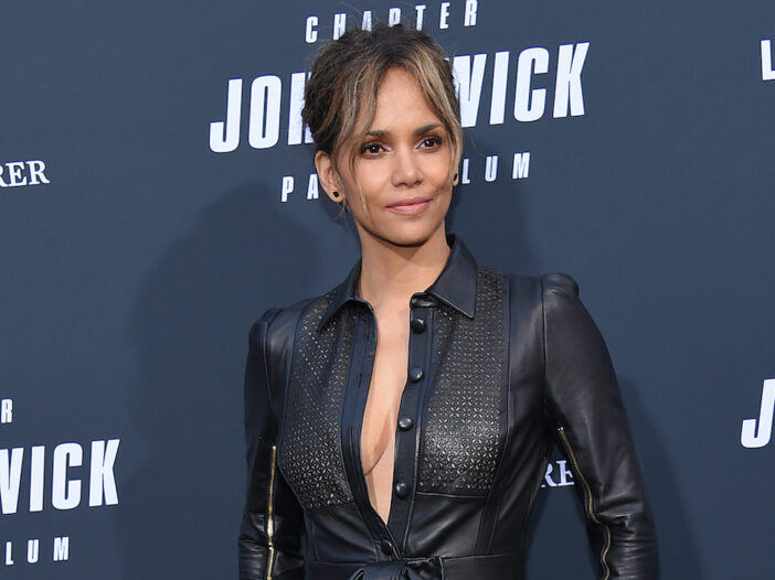 Halle Berry in a black leather outfit