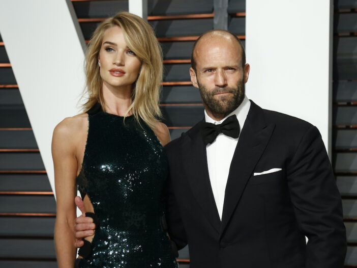 Jason Statham in a tux with Rosie Huntington Whiteley