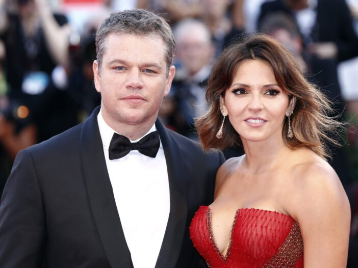 Matt Damon and his wife, Luciana Barrosso at an event in Venice, Italy.