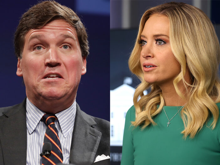 Side by side photos, Tucker Carlson looking upset on the left, Kayleigh McEnany looking serious on the right.