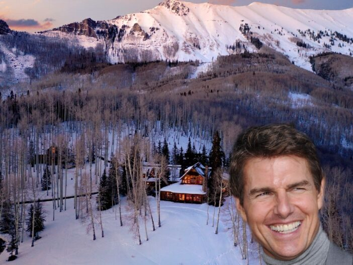A photo of Tom Cruise superimposed over an aerial photo of his Colorado mansion