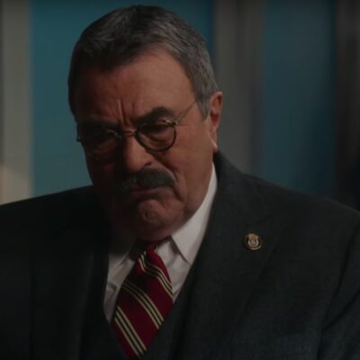 screenshot of Tom Selleck in a suit on Blue Bloods