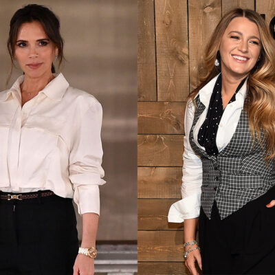 Side-by-side photos of Victoria Beckham on the left, Blake Lively on the right, both looking very fashionable.