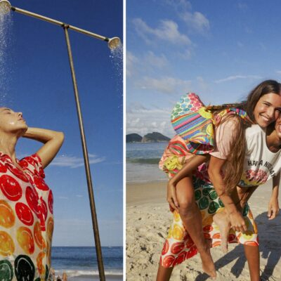 Promotional photos showcasing the new Farm Rio and Smiley fashion collab.
