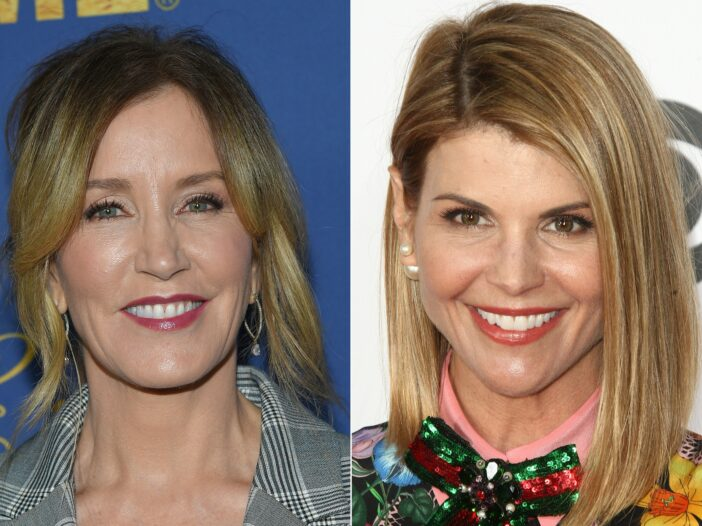 Combo photo of Lori Loughlin on the right, Felicity Huffman on the left.