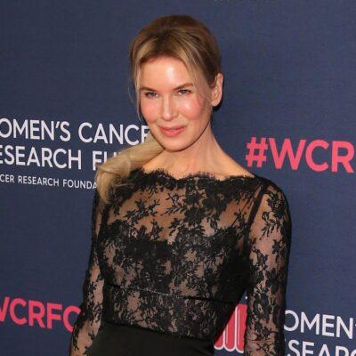 Renee Zellweger in a sheer black dress
