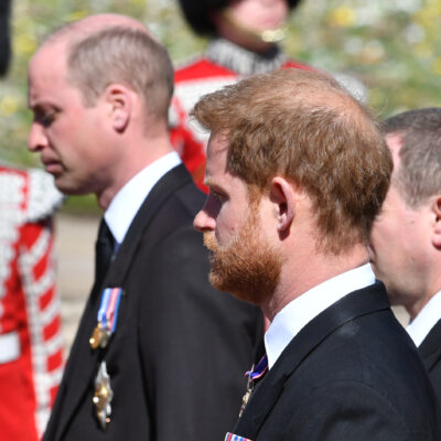 Prince Harry and Prince William at the funeral of Prince Philip