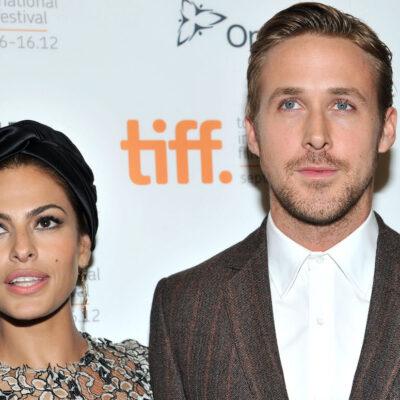 Eva Mendes smiling with Ryan Gosling