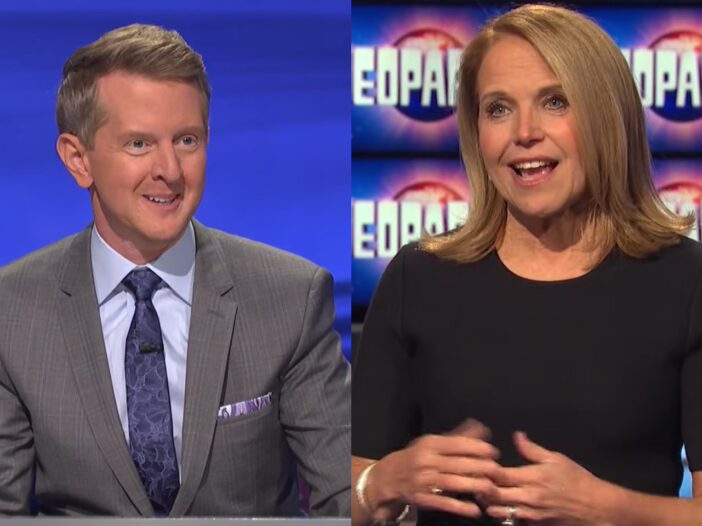 Split image of Ken Jennings on the left in a grey suit, and Katie Couric on the right in a black dress.