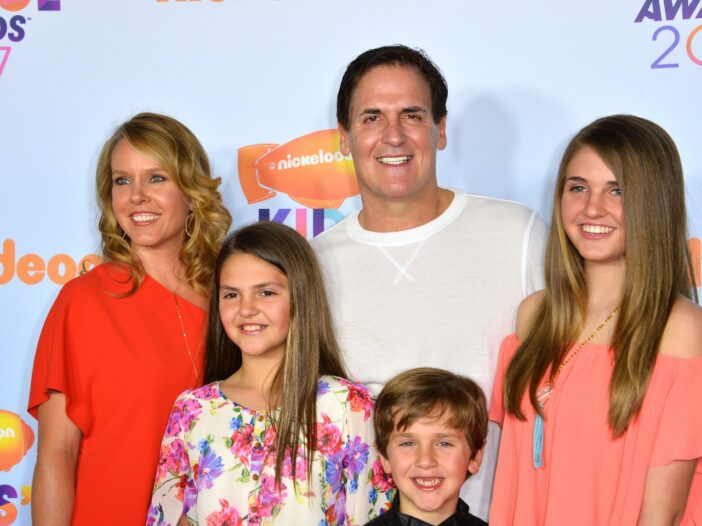 Businessman Mark Cuban & wife Tiffany Stewart & children Alyssa, Jake & Alexis, dressed casually and smiling at the Nickelodeon Kids Choice Awards