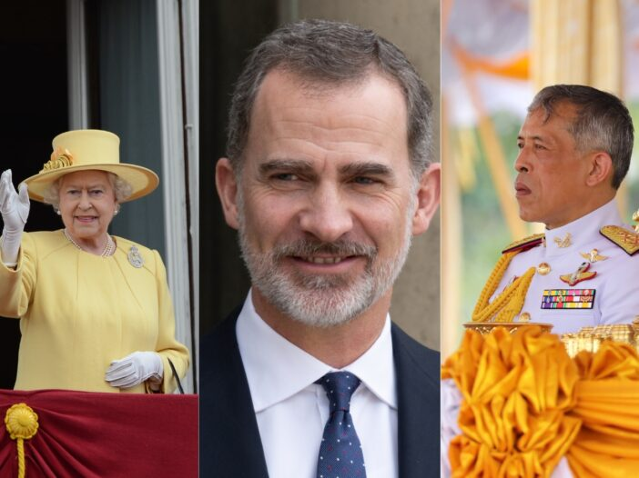 Side by side image of Queen Elizabeth in a yellow dress, King Felipe VI in a black suit, and King Maha Vajiralongkorn in a white military jacket.