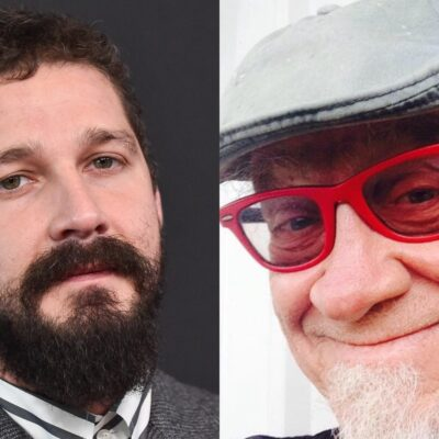 Split image of Shia LaBeouf on the left in a gray suit and his dad, Jeffrey Craig LaBeouf on the right in a gray hat and red glasses.