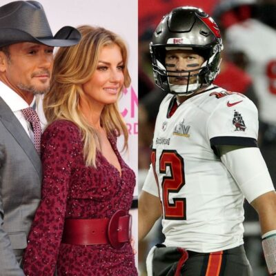 side by side photos of Faith Hill, Tim McGraw and Tom Brady