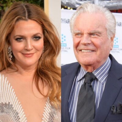 side by side photos of Drew Barrymore and Robert Wagner
