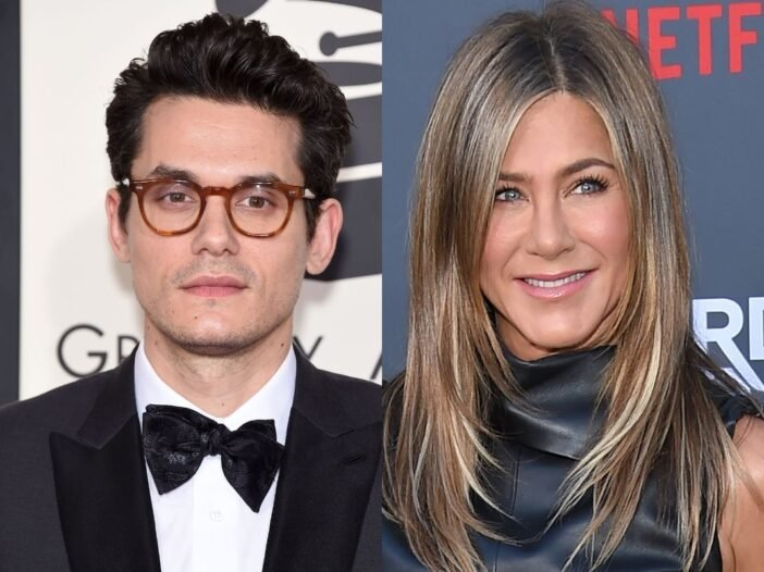 side by side photos of John Mayer and Jennifer Aniston
