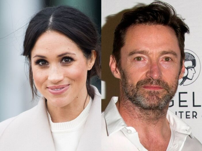 side by side photos of Meghan Markle and Hugh Jackman
