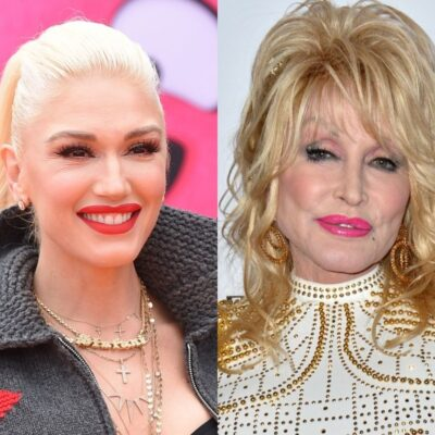 side by side photos of Gwen Stefani and Dolly Parton