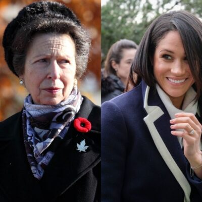 side by side pics of Princess Anne and Meghan Markle