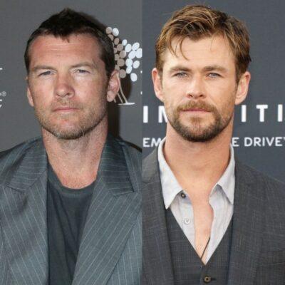 side by side photos of Sam Worthington and Chris Hemsworth