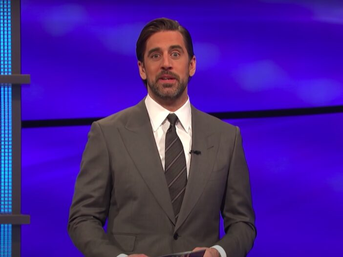 screenshot of Aaron Rodgers hosting jeopardy