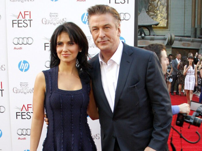 Hilaria Baldwin on the left, with Alec Baldwin at a red carpet event.