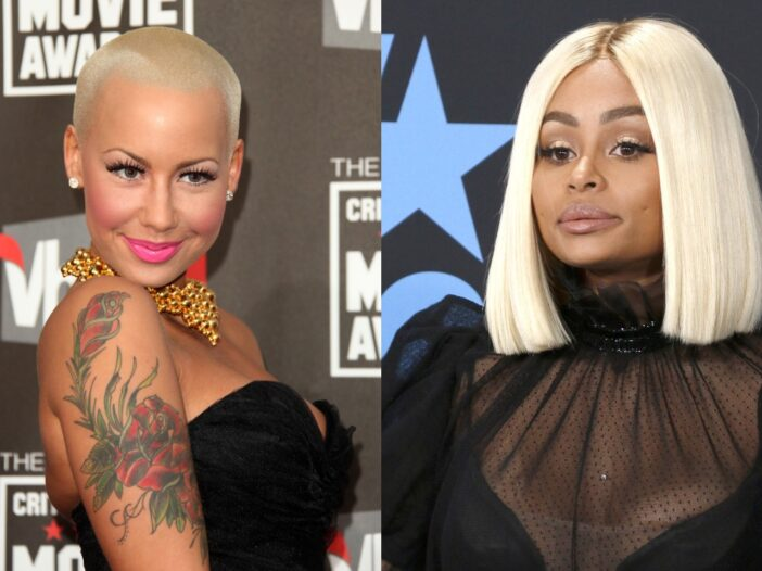 Side by side pictures of Amber Rose and Blac Chyna; they're both wearing black outfits at red carpet appearances.