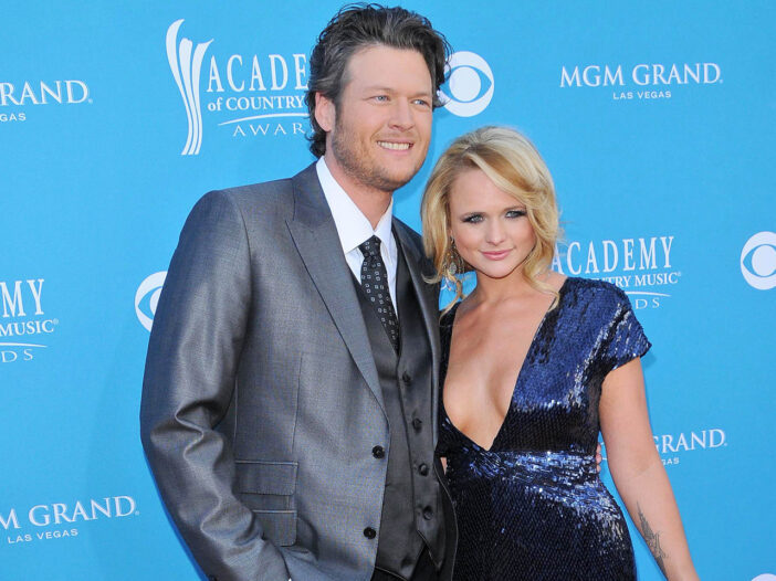 Blake Shelton on the left, Miranda Lambert on the right, back when they were married.