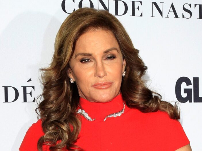 Caitlyn Jenner wears a red dress to a Glamour Magazine event
