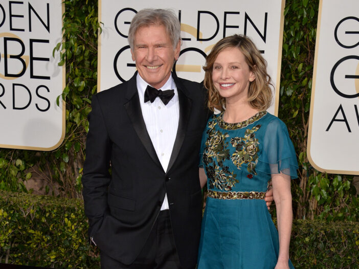 Harrison Ford and Calista Flockhart on the Golden Globes red carpet