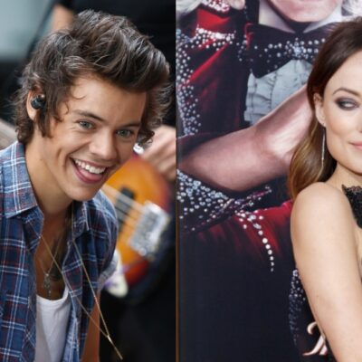 A plit photo of Harry Styles (left) and Olivia Wilde (right)