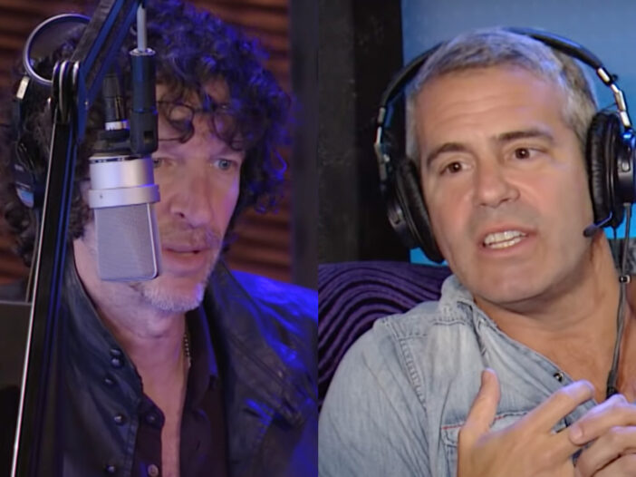 Side by side photos of Howard Stern on the left and Andy Cohen on the right on the Howard Stern Show