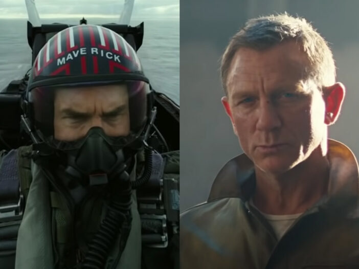 Side by side screenshots, Tom Cruise as Maverick in Top Gun: Maverick on the left, Daniel Crag as James Bond in No Time To Die on the right.